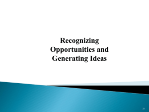 Recognizing Opportunities and Generating Ideas