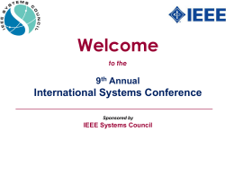 Welcome to the - 2015 IEEE Systems Conference