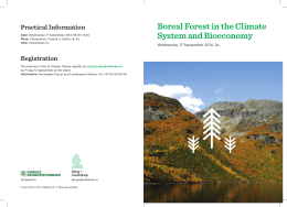 Boreal Forest in the Climate System and Bioeconomy