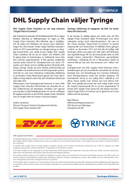 DHL Supply Chain väljer Tyringe
