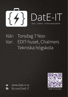 EDIT-huset, Chalmers Tekniska högskola - DatE