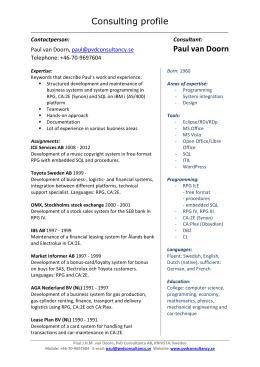 Consulting profile Paul van Doorn