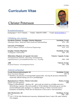 Ladda ner Christer Peterssons Curriculum Vitae.
