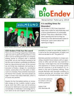 Newsletter February 2014 CEO Anders Frisk has the