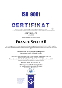 This is to certify that: FRANCE SPED AB