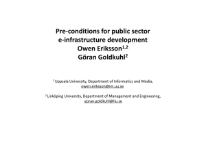 Pre-conditions for public sector e-infrastructure development Owen