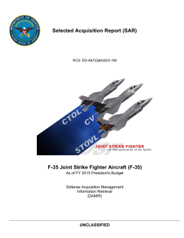Selected Acquisition Report (SAR) F-35 Joint