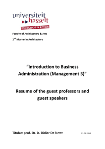 """Introduction to Business Administration (Management 5"