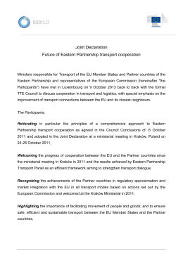 Joint Declaration Future of Eastern Partnership transport cooperation
