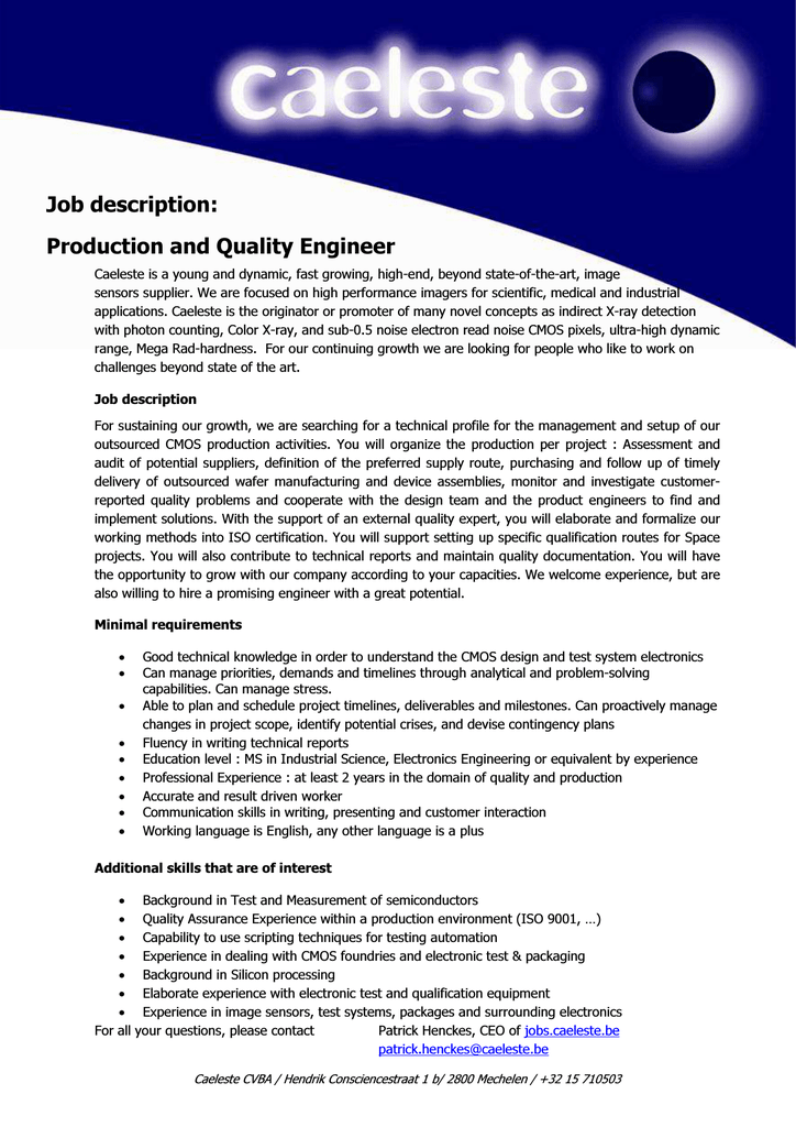 job description  production and quality engineer