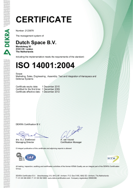 CERTIFICATE - Dutch Space