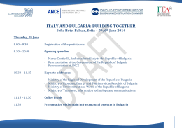 ITALY AND BULGARIA: BUILDING TOGETHER