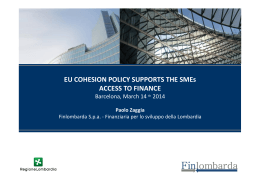 EU COHESION POLICY SUPPORTS THE SMEs ACCESS TO