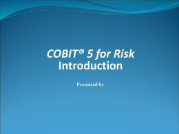 Introduction to COBIT 5 for Risk