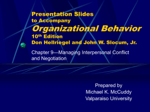 Chapter 9: Managing Interpersonal Conflict and Negotiation