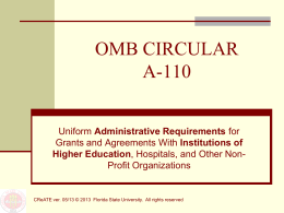 OMB CIRCULAR A-110 - Office of Research