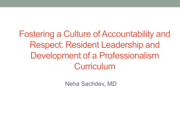Fostering a Culture of Accountability and Respect: Resident