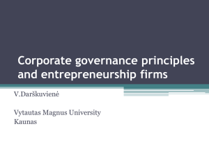 Corporate governance principles and entrepreneurship firms