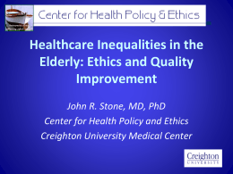 Healthcare Inequalities in the Elderly