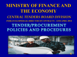 Steps in the Procurement Process - Ministry of Finance and the