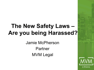 The New Safety Laws - Are you being Harassed?