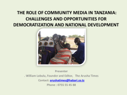 the role of community media in tanzania: challenges