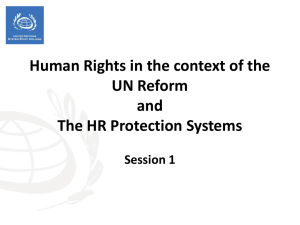 Session 1 - HR and the UN Reform