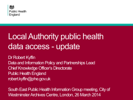 LAPH access to national data - South East Public Health Observatory