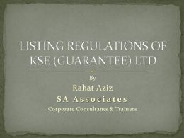 Listing Regulation of KSE-Rahat Aziz