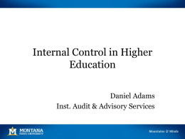 Internal Control in Higher Education