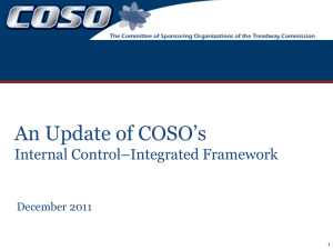 An Update of COSO`s Internal Control–Integrated Framework