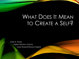 What Does It Mean To Create A Self