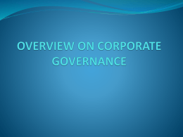 OVERVIEW TO CORPORATE GOVERNANCE