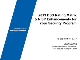 Rating Matrix Briefing Sept 2013 - Florida Industrial Security