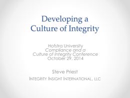 Developing a Culture of Integrity