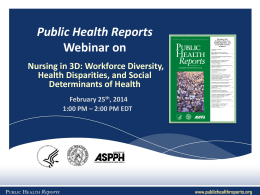 health disparities - Public Health Reports