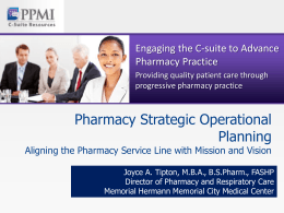 Pharmacy Strategic Operational Planning