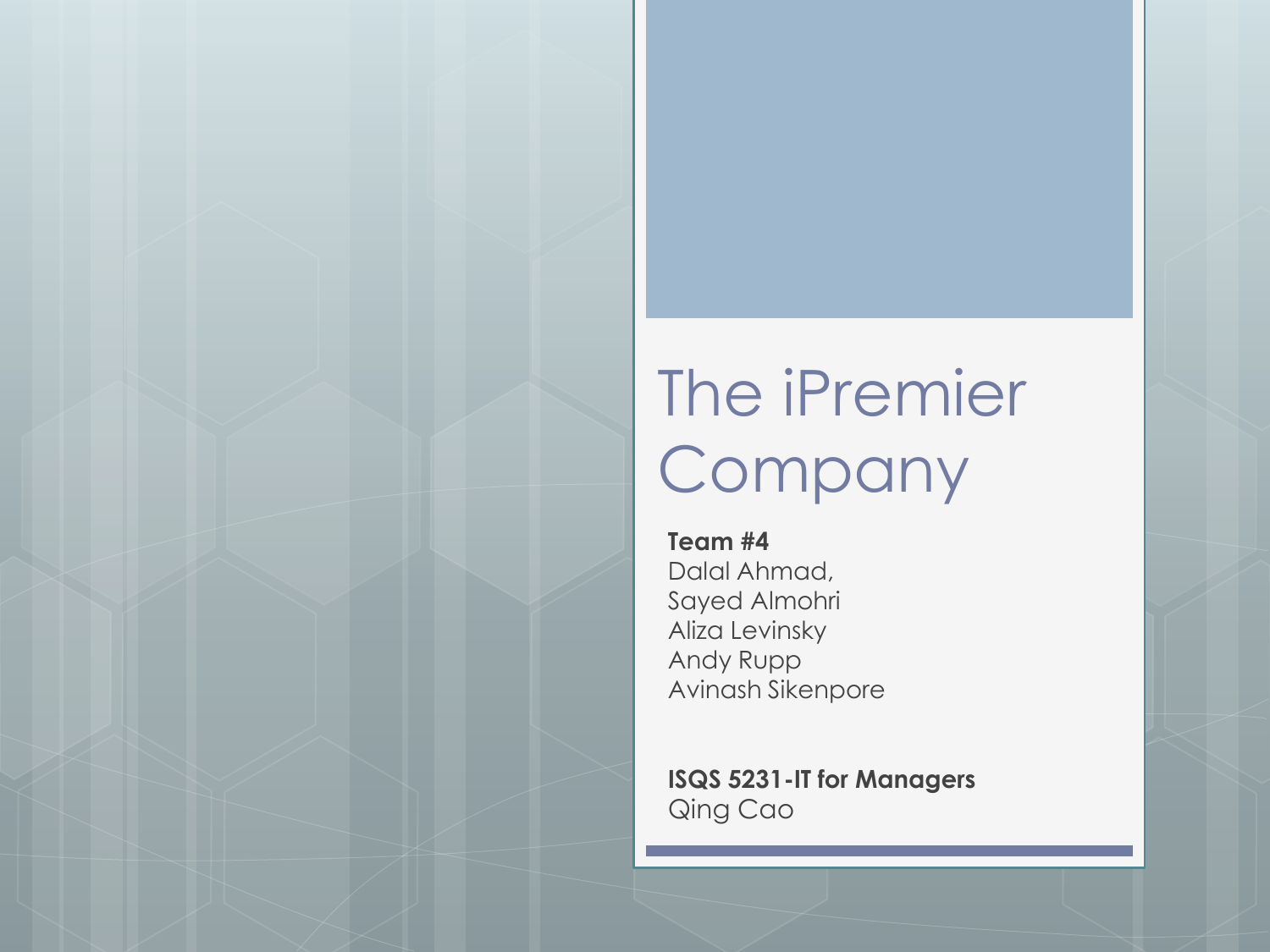 Ipremier case study answers