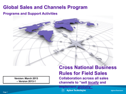 Cross National Business Rules for Field Sales