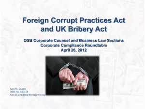 FCPA for Roundtable - Oregon State Bar Corporate Counsel Section