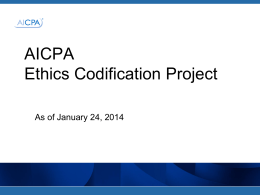 AICPA Profesional Ethics Codification Project PowerPoint