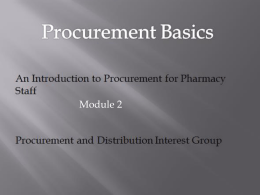 PDIG Procurement Basics Course - Module 2