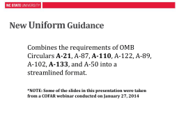 New Uniform Guidance