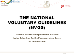 THE NATIONAL VOLUNTARY GUIDELINES (NVGS)