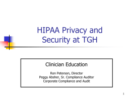 HIPAA Education - Tampa General Hospital