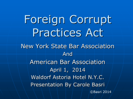 Foreign Corrupt Practices Act Powerpoint