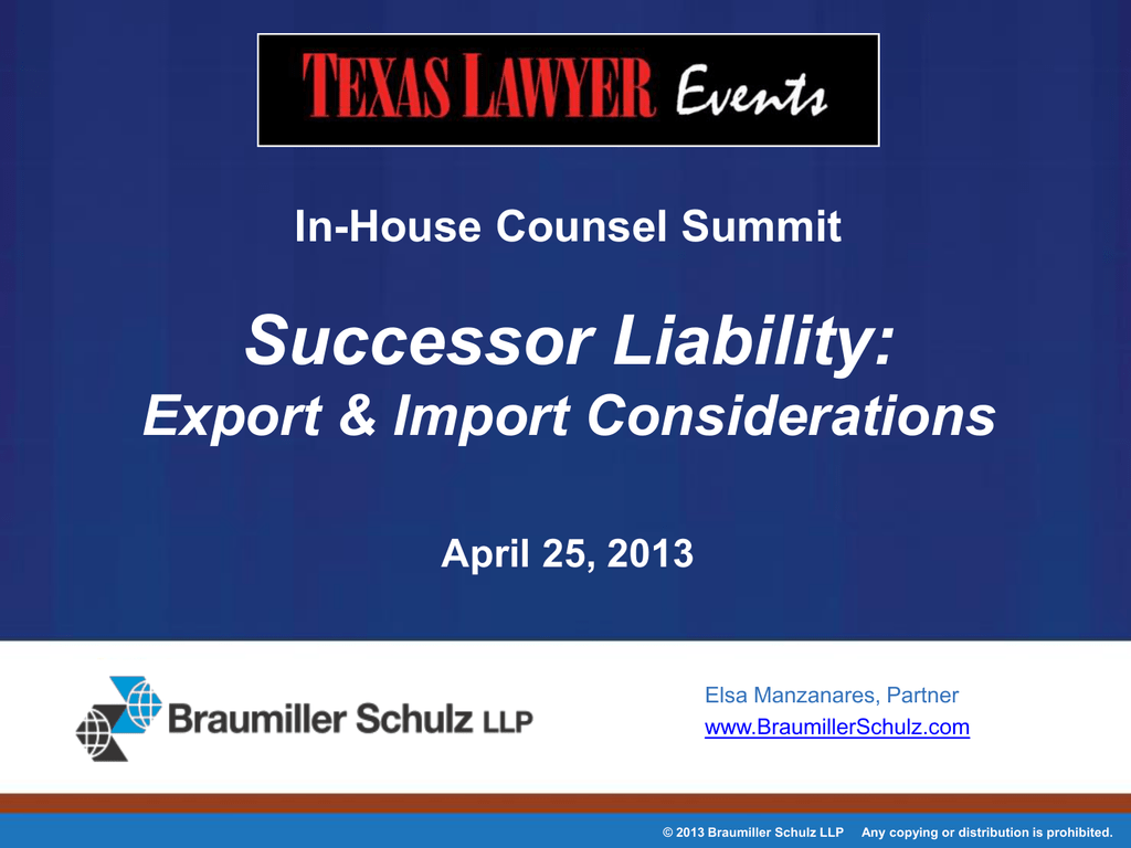 Successor Liability: Export and Import Considerations