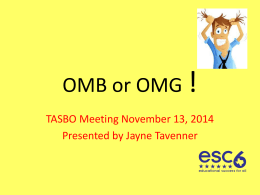 TASBO Presentation on OMB