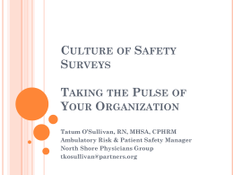 Culture of Safety Survey - Northern New England Society for