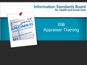 Appraiser Training - Information Standards Board for Health and